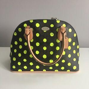 Coach Yellow Dot Cora Dome Satchel Bag Crossbody